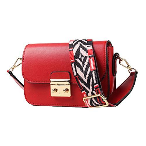Neue Damen Tasche breiter Schultergurt kleine quadratische Tasche Schulter Diagonal Damen Tasche Mode (Rot, one)