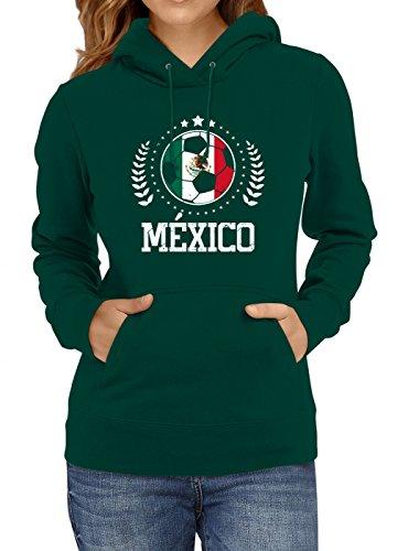 Shirt Happenz Mexiko Weltmeisterschaft 2018#20 Premium Hoodie Fan Trikot Fußball WM Nationalmannschaft Frauen Kapuzenpullover, Farbe:Dunkelgrün;Größe:M