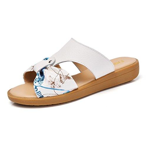Damen Pantoffeln Slip On Peep-toe Flache Anti-Rutsche Bequeme Strandschuhe Blumendruck Sommer Atmungsaktiv Schuhe Weiß,Blau
