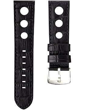 Uhrenarmband Geckota Echtes Leder Rallye Schwarz 24mm