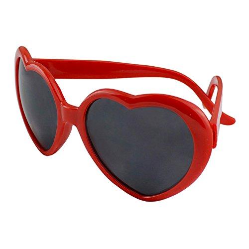 Unisex Herz Form Sonnenbrille Sonnenbrillen Sonnen Brille (Rot)