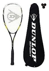 DUNLOP BIOTEC MAX Raqueta Para Squash De Titanio + 3 Pelotas De Squash - Tamalo Cabezal- 525 Sq cm - Estampado cuerdas- 16 x 18 Powermax - Construcción- Aleación de titanio