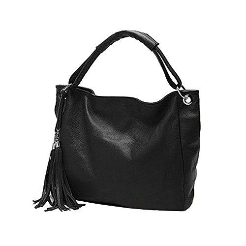 wlgreatsp größere Kapazität Troddelhandtasche Single Umhängetasche Satchel Taschen Tasche für Frauen Schwarz