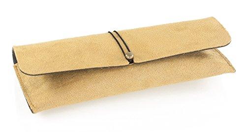 Demel Augenoptik Brillenetui für Damen und Herren - Hochwertiges Etui im Wildlederlook mit Gummizug - Etui inkl. Mikrofasertuch Modell: Amarillo (Gelb)
