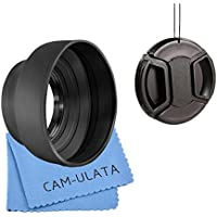 Cam-ulata Collapsible Rubber Lens Hood 3in 1kit set for Canon