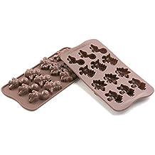 SCG16 Molde de Silicona para Chocolate con 12 cavidades con Forma de Dino, Color marrón