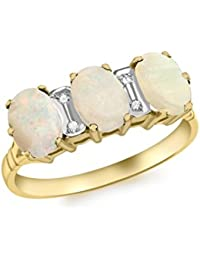Carissima Gold 9 ct Yellow Gold Triple Opal and Diamond Ring - Size P