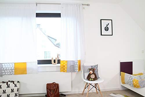 ULLENBOOM ® Patchwork Vorhänge Kinderzimmer 140x170 cm Elefant Gelb (Babyzimmer Gardinen aus Baumwolle, 2 Schals mit Tunnelzug, Motiv: Sterne, Punkte)