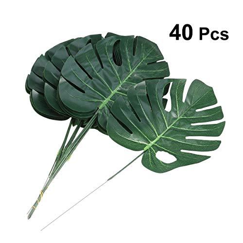 Tinksky 40Pcs Tropical Palm Blätter Simulation für Hawaiianische Jungle Luau Party Beach Thema Party Dekorationen