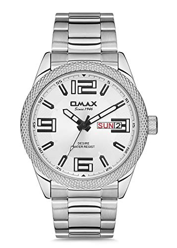 OMAX Analog Day Date Steel White Dial Men's Bold Watch - GX43P36I