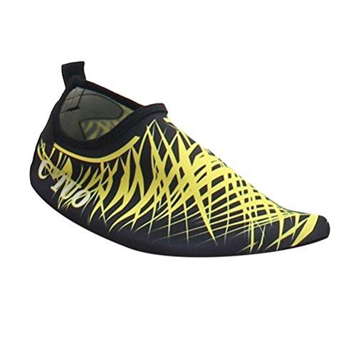 Zhuhaitf Donna Uomini Scarpe da Immersione da Scoglio Scarpette da Bagno Mare Spiaggia Ballo Yoga Materiale Traspirante Elastico Antiscivolo Super Leggere Unisex Yellow