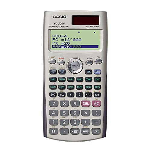 Casio FC-200V-S-EH - Calculadora financiera, 12.2 x 80 x 161 mm, gris