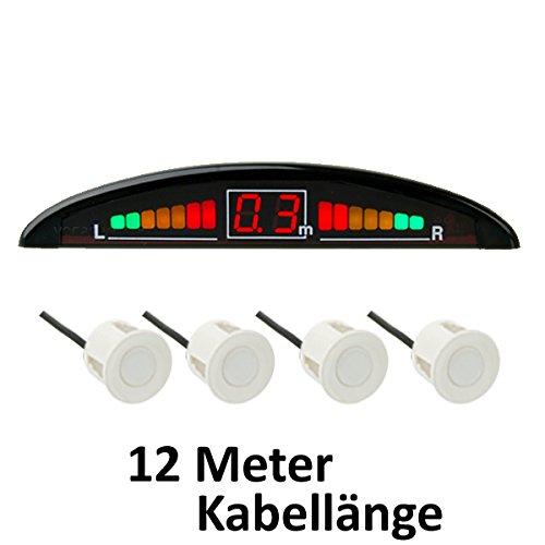 *VSG R4S Einparkhilfe (extra lang) mit Farb-Display und eingebauten Pieper inklusiv 4 Sensoren in weiß für hinten*