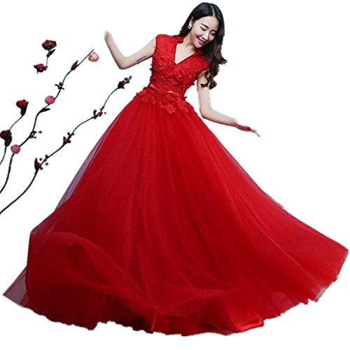 HUA rosso sposato collare spalla di parola brindisi abbigliamento abito da sposa Slim era sottile (Brindisi Sposa Sposo)
