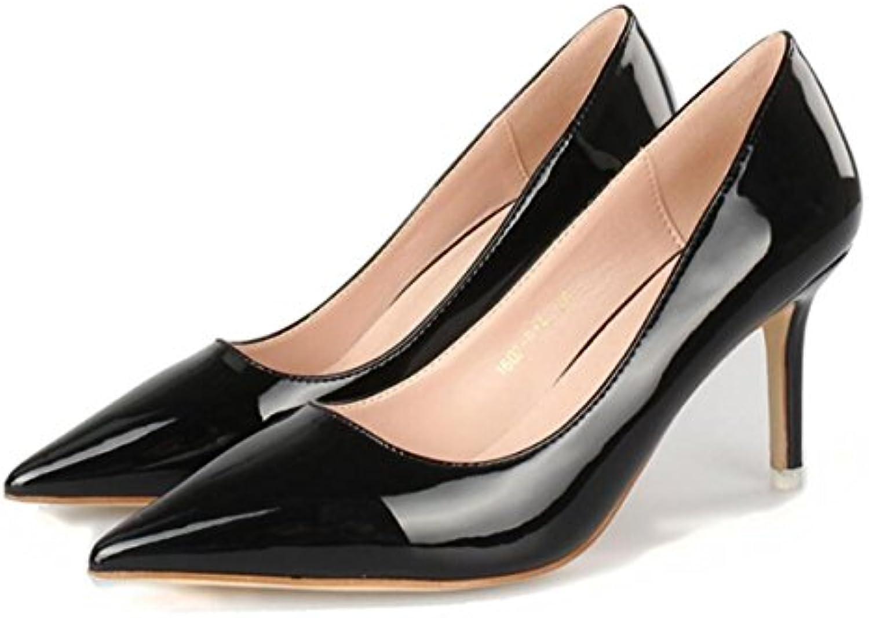 16f5c16db15725 NSGG Nouveaux Femmes Femmes Bouche superficielle Talons hauts Pointu  Contraste Contraste Contraste Court Smart Party Work Chaussures.