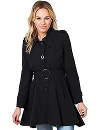 KRISP® Femmes Manteau Trench Coat Uni Cintré Avec Ceinture Collection A/H