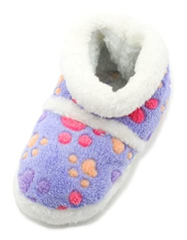 Tom Franks Girls Lilac Fun Paw Print Bootie Slippers Size
