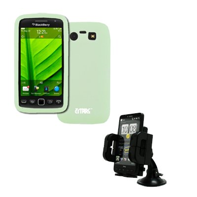 EMPIRE BlackBerry Torch 9850 Silicone Skin Case Étui Coque Cover Couverture (Glow in the Dark Vert) + Voiture Dashboard Mont