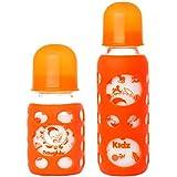 Naughty Kidz Premium Warmer Glass Bottle With Ultrasoft LSR Nipple||Silicone Bottle Warmer||Key TEETHER||Hood Retaining Cap And Sealing DISC RING-120ML+240ML (Orange+Orange)