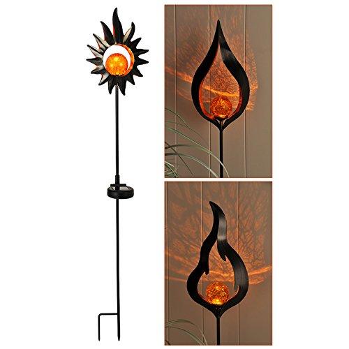 LED Solar Gartenstecker mit orangefarbenem Licht u. Akku Metall 92 cm - Dekoration Aussen Garten Deko Glas Kugel Ornament (Kugel Ornamente Glas)