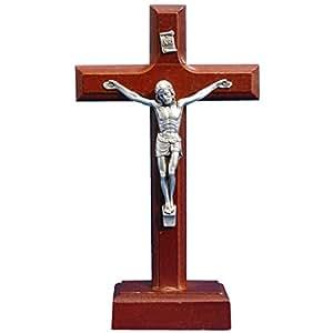Crucifix sur pied - Croix en bois sur socle Christ en relief en métal argenté, hauteur 18cm
