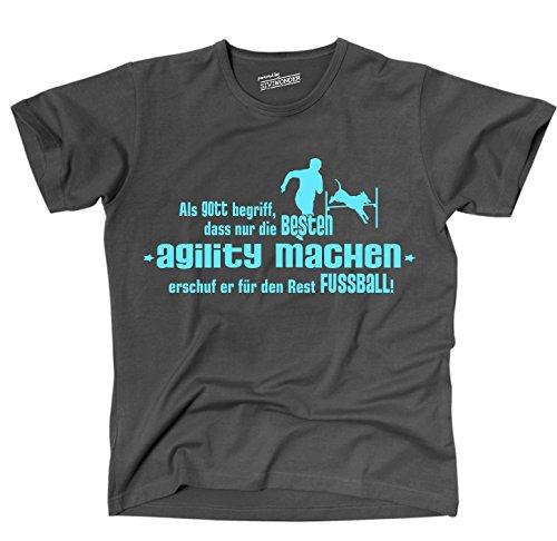 Siviwonder GOTT AGILITY Hundesport NO Fußball Hund Hunde - Unisex T-Shirt Shirt dark grey M