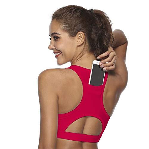 Fliegend Damen Sport BH Push Up Racerback Sporttop Bustier Yoga Fitness Laufen Tops Oberteil Mit Taschen Training Joggen Bra Gepolstert Medium High XS -