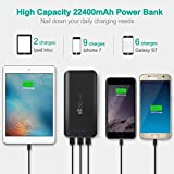 EC Technology Portable Charger 22400mAh Power Bank Ultra High Capacity External Battery with Auto IC for iPhone iPad Samsung, Black & Red