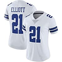 Selección Femenina de Rugby Jersey Dallas Cowboys # 21 Elliott Tech Transpirable Jersey Vestido la Camiseta de Rugby Traje (Color : White A, Size : L)