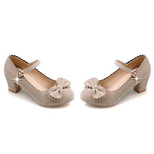 COOLCEPT Damen Mode-Event Knochelriemchen Klassische Pumps Maedchen Mitte Schuhe Mit Bogen Beige