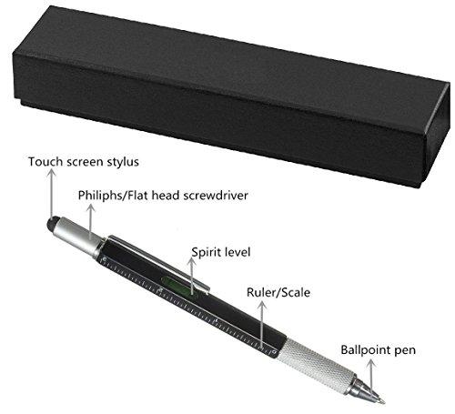 Multifunktions-vielseitig Stylus Pen Werkzeug 6 in 1 Multitool mit Geschenk Box, inklusiv 1 Kugelschreiber, universal Stylus, Lineal, 2 x Schraubenzieher, Füllstandsanzeige - 6 Zoll Geschenk-boxen