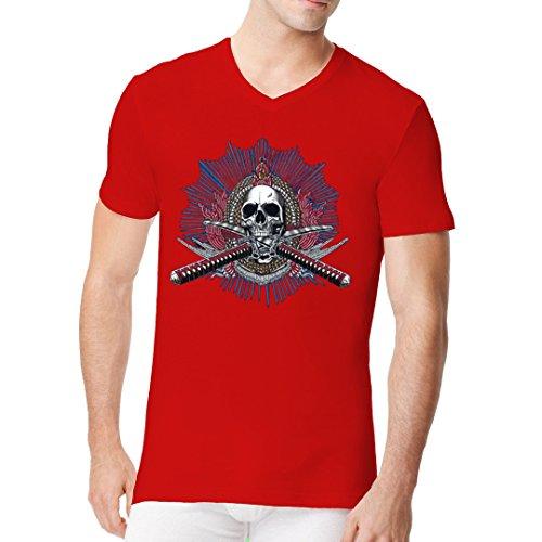 Im-Shirt - Totenkopf mit gekreuzten Schwertern Oversize Shirt cooles Fun Men V-Neck - verschiedene Farben Rot