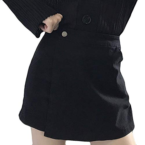 NPRADLA Damenrock Lässig Sommer Freizeit Shorts Hot Pants Knopf Culottes Hohe Taille Reine Farbe Frau Hipster Skinny Shorts(L,Schwarz) Aeropostale Bootcut Jeans
