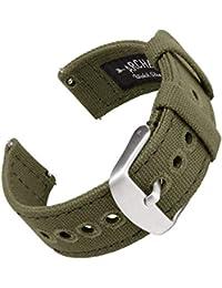 Archer Watch Straps | Correas Reloj Lona de Liberación Rápida para Hombre y Mujer | para Relojes y Smartwatch (Verde Oliva Desteñido, 20mm)