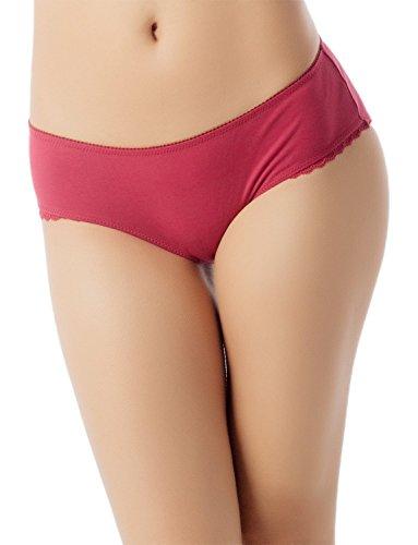 Höschen Fair Womans Vanity (iB-iP Damen Modal Slips Lace Trim Weiche Baumw Niedrige Leibhöhe Bikini Höschen, größe: M, Burgund)