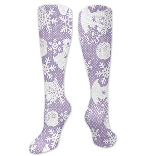 xcvnxtgndx Knee High Socks Christmas Snowflakes Compression Socks Sports Athletic Socks Tube Stockings Long Socks Funny Personalized Gift Socks for Women Teens Girls -