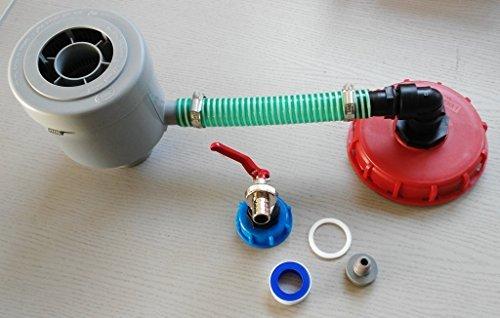 cmgg21dk150mk99 Graf Garantia Extension de filtre Fall brut avec tuyau, colliers, embout de tuyau à angle droit, réduction + capuchon à vis 150 mm à boisseau sphérique avec capuchon à vis S60 x 6 + prise Convient pour Gardena, IBC conteneur de Accessoire pour réservoir d'eau de pluie adaptateur de raccord de fût à Bidon d'eau