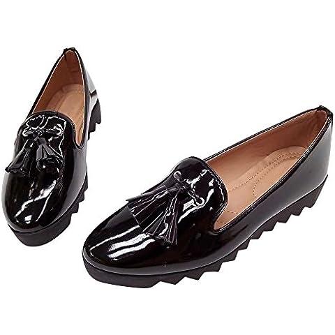 Hengfeng Cuero Borla Barco Zapatos