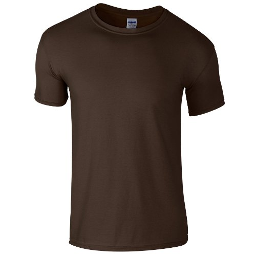 Gildan - Suave básica camiseta de manga corta para hombre - 100% algodón gordo (2XL/Marrón chocolate)