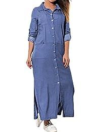 Longra Abito Denim a Maniche Lunghe Donna Con Tasche Gonna Di Jeans Abito  Da Camicia Fessura Laterale Vestito Lungo Maxi Donna… 6f91f8febf5