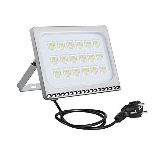Ultradünnes LED-Flutlicht 100W, EU-Stecker, kaltweiß 6000-6500k, IP67-wasserdichte Sicherheitsleuchten Super Bright, 80000lm Landscape Floodlighting für szenische Beleuchtung, Garage, Wohnlandschaft