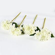 justoyou 4 flores artificiales, tallo individual, flores de seda, Hortensias, ramos artificiales de flores para boda, hogar, fiesta, decoración, tela, Blanco, 4 piezas