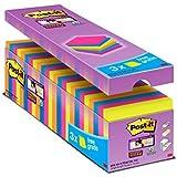 Post-It Super Sticky Tradizionale Confezione Risparmio, Foglietti Adesivi Colorati, Rimovibili e Riposizionabili, 76 x 76 mm,