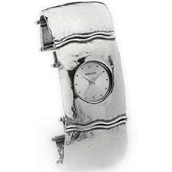 Aviv Ladies Handmade Wide Silver Bracelet Watch