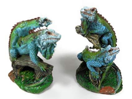 2er Set Leguan je 9 cm Echse Paar Reptil Terrarium Tier Figur Deko COR 405
