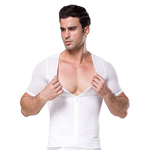 BaronHong Compression Body Shaper Potente 180W Powernet Zip con chiusura a gancio Short Sleeve Undershirt bianca