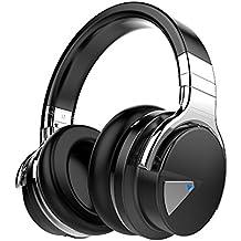 COWIN E7 Auriculares Inalámbricos Bluetooth con Micrófono Hi-Fi Deep Bass Auriculares Inalámbricos Sobre El Oído, Almohadillas de Protección Cómodo, 30 Horas de Tiempo de Juego para Viajes - Negro