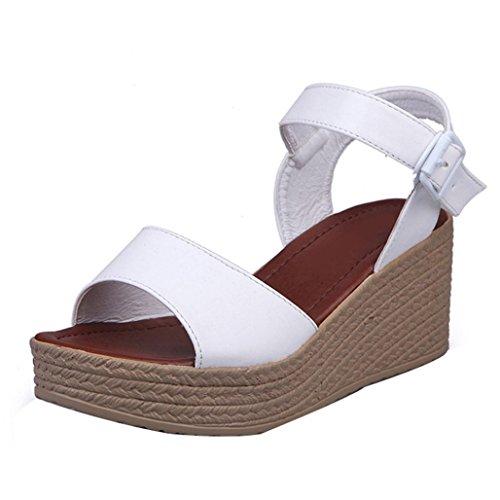 Winwintom Moda Mujer Verano pendiente con Chanclas Sandalias mocasines zapatos (37, Blanco)