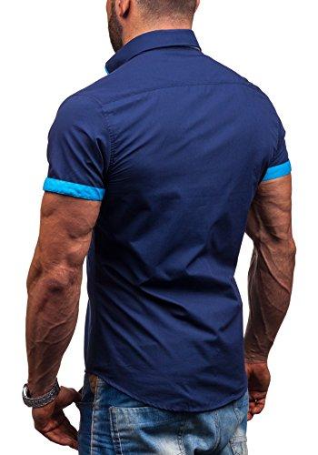 BOLF Kurzarm Herrenhemd Hemd Figurbetont Freizeit Slim Fit 2926 Dunkelblau