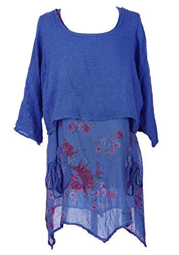 Ladies Women Italian Lagenlook 2 Piece Floral Dress Plain Shrug Twin Set Tunic UK 10-14 (Royal Blue, One Size) (Floral Linen Tunic)